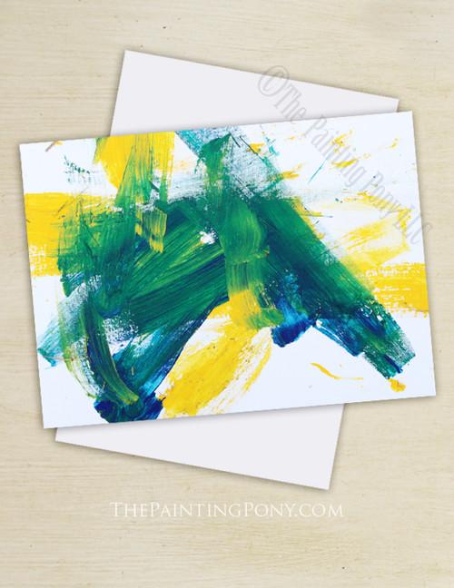 "Abstract Horse Art ""Painting 103 Bluegrass Pony"" Note Cards"