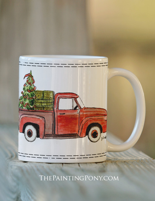 Country Christmas Red Farm Truck and Horse Trailer Coffee Mug