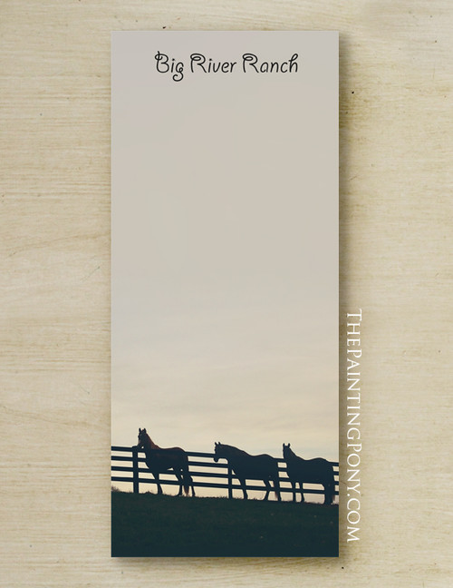 Horses At The Fence Custom Equestrian Notepad