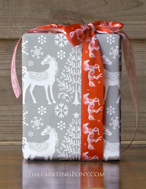 Nordic Winter Horse Holiday Gift Wrapping Paper
