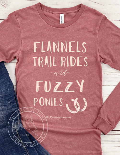 Flannels and Fuzzy Ponies Fall Equestrian Long Sleeve Tee