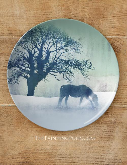 "Winter Horse Equestrian 10"" Dinner Plate"