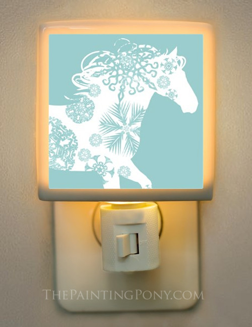 Winter Snowflake Horse Night Light