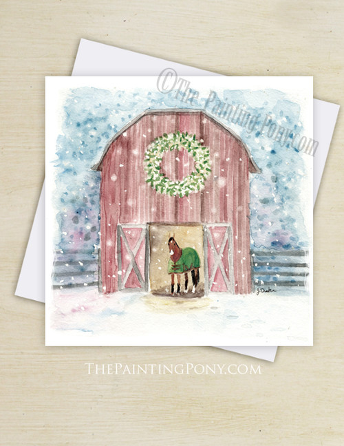 Snowy Red Barn Country Christmas Greeting Cards (10 pk)