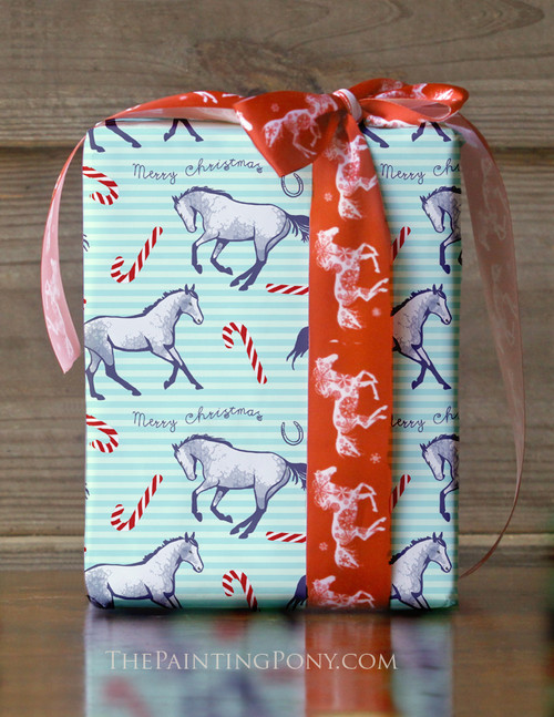 Candy Canes and Ponies Holiday Gift Wrapping Paper