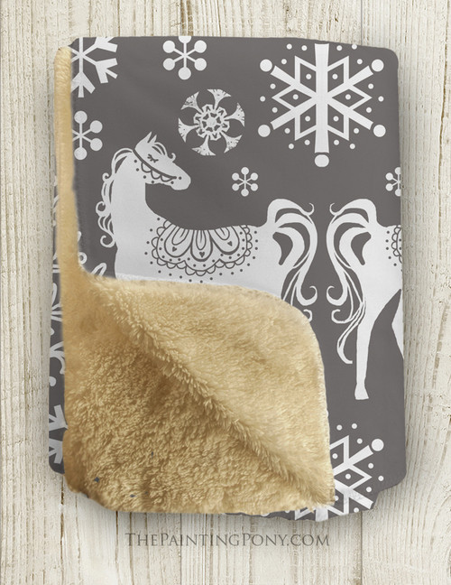 Winter Horse Pattern Sherpa Fleece Throw Blanket