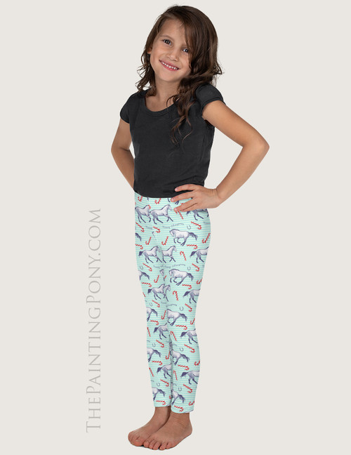 Candy Canes and Christmas Ponies Equestrian Kids Leggings