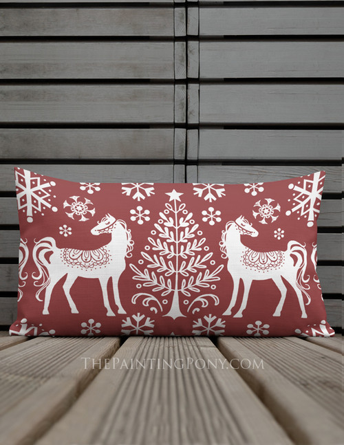Winter Nordic Horse Holiday Lumbar Pillow