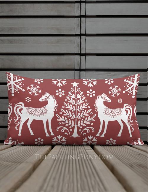 Winter Nordic Horse Holiday Lumbar Pillow