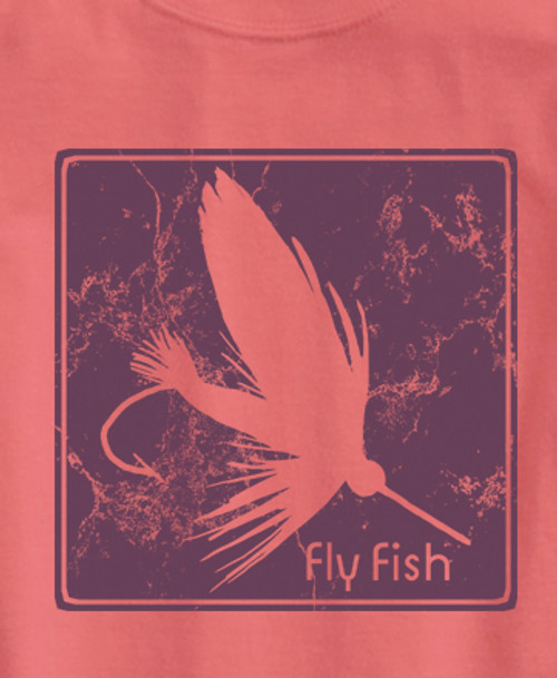 Purple Block Print Fly Ladies T Shirt