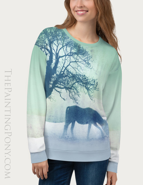 Teal Winter Horse Equestrian Sweatshirt