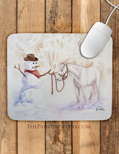 Cowboy Snowman and Pony Country Christmas Mouse Pad