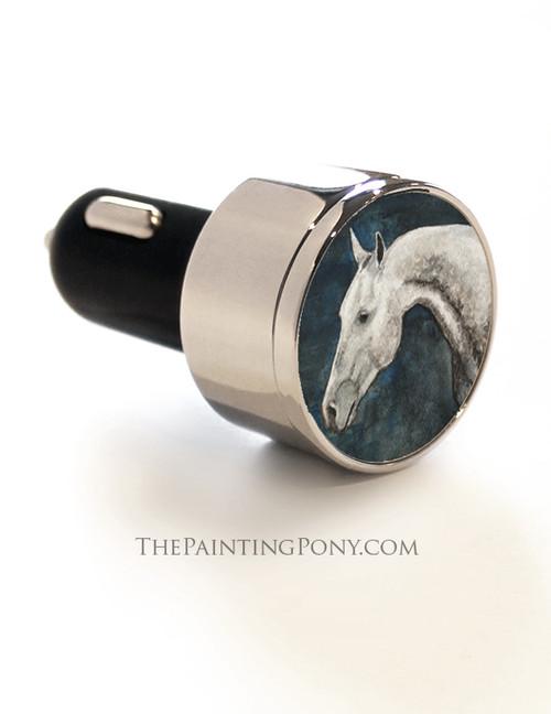 Dappled Gray Horse Head Art USB Car Charger
