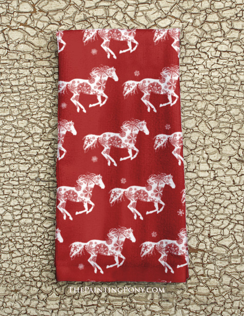 Red Snowflake Christmas Horse Kitchen Hand Towel