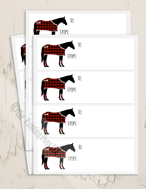 Festive Christmas Horse Gift Tag Labels