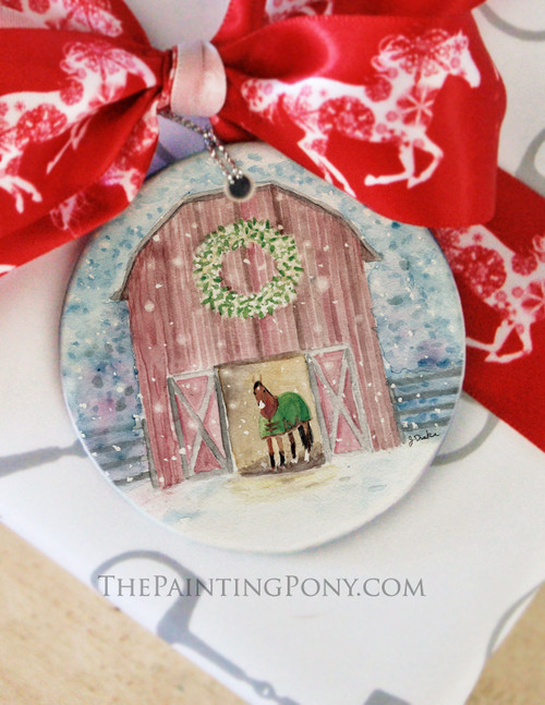 Snowy Red Country Horse Barn Christmas Ornament