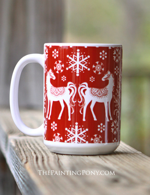 Winter Nordic Horse Lover Equestrian Coffee Mug