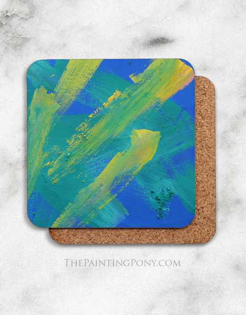 Abstract Horse Art Corkback Coasters Set (4)