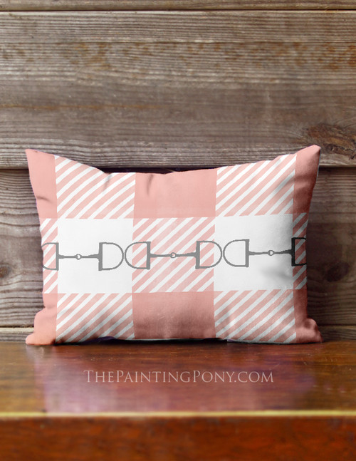 Pink Buffalo Check Plaid Horse Bits Equestrian Accent Pillow