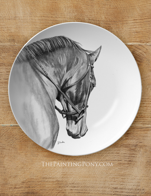 """Collected Horse Head Art Equestrian 10"""" Dinner Plate"""