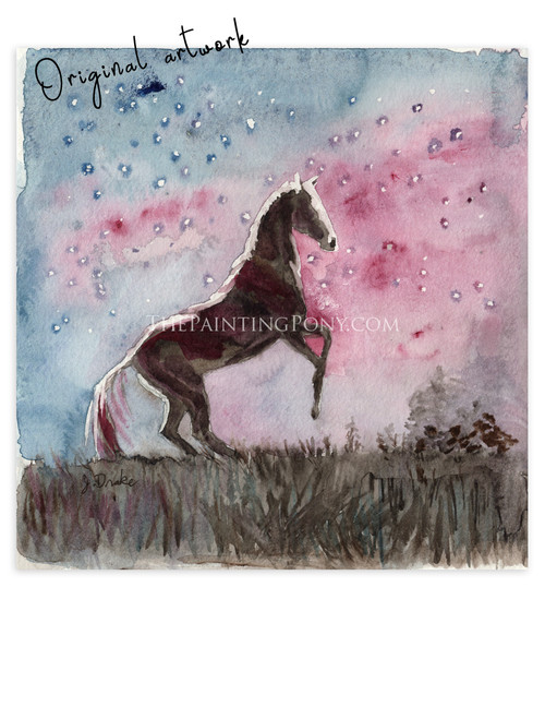 """Painting 5 out of 100  """"Moonlight"""" Rearing Horse Watercolor Painting"""