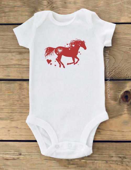 Heart Horse Lover Baby Creeper