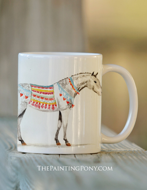 Dappled Gray Heart Pony Equestrian Coffee Mug