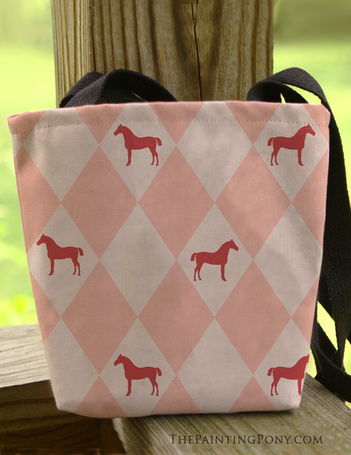 Pink Argyle Horse Pattern Equestrian Tote Bag