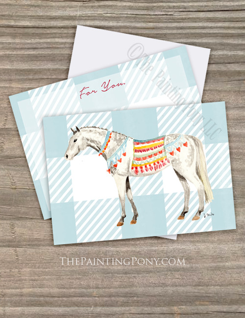 Dappled Gray Pony Valentine's Day Flat Cards (10 pk)