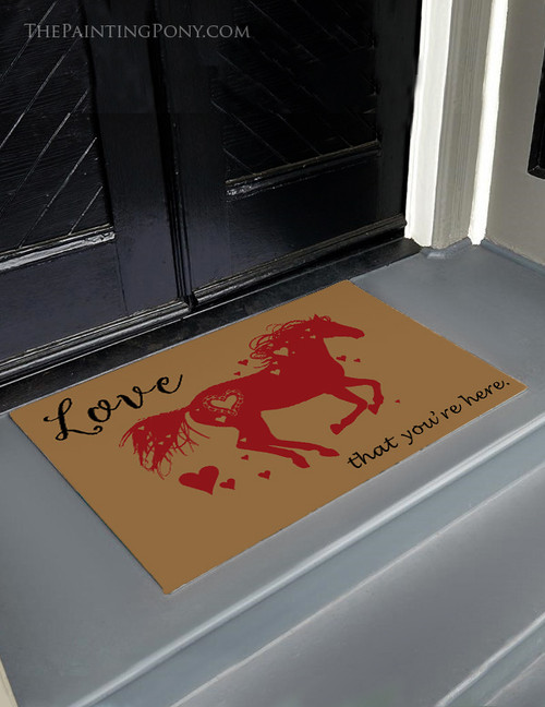 Heart Horse Equestrian Welcome Door Mat