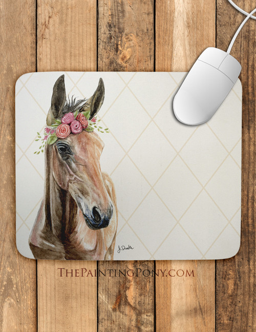 Bohemian Horse Head Art Mouse Pad