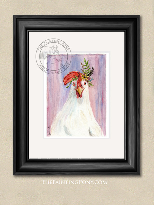 Bohemian Chicken Watercolor Art Print