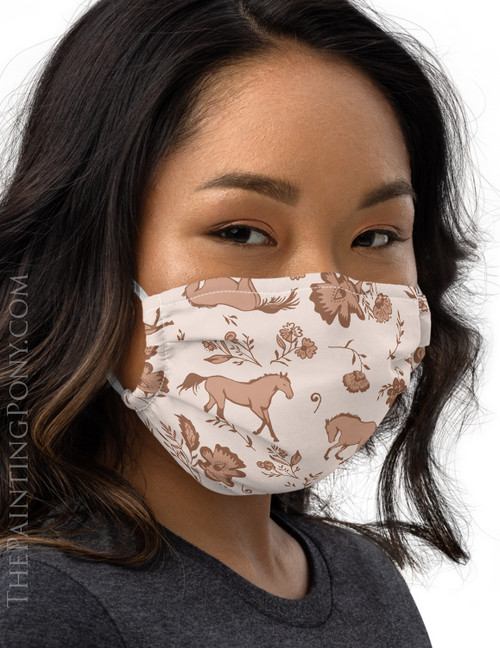 Country Floral Horse Pattern Equestrian Face Mask Coverlet (More Colors Available)