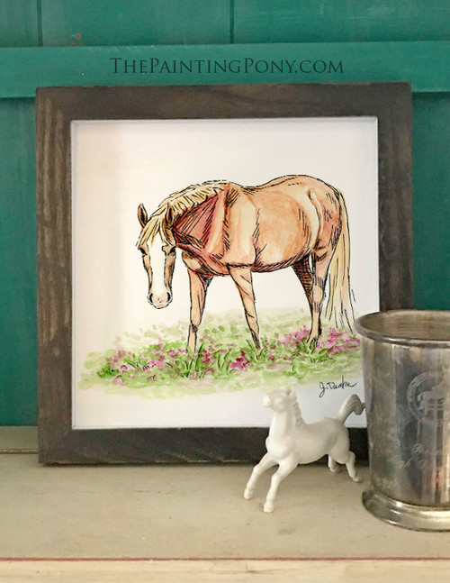 Whimsical Chestnut Pony Watercolor Art Print