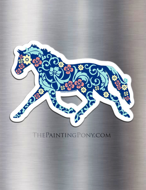 Trotting Floral Horse Equestrian Magnet