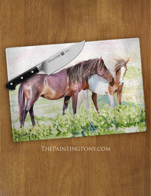 Chincoteague Wild Pony Art Equestrian Glass Cutting Board