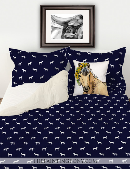 Classic Horse Pattern Equestrian Bedding Set