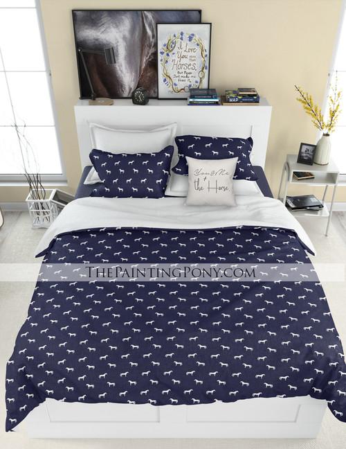 Classic Horse Pattern Equestrian Bedding Set