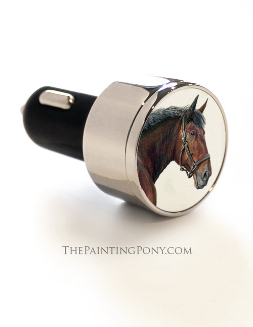Cleveland Bay Horse Head Art USB Car Charger