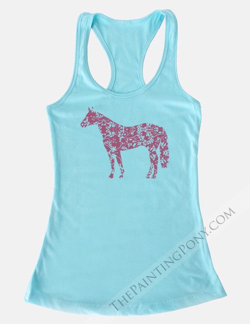Floral Horse Equestrian Racerback Tank Top