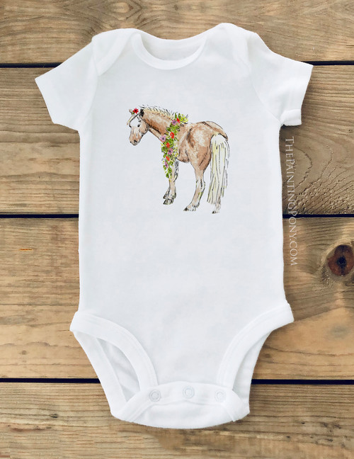 Whimsical Pony Equestrian Baby Creeper
