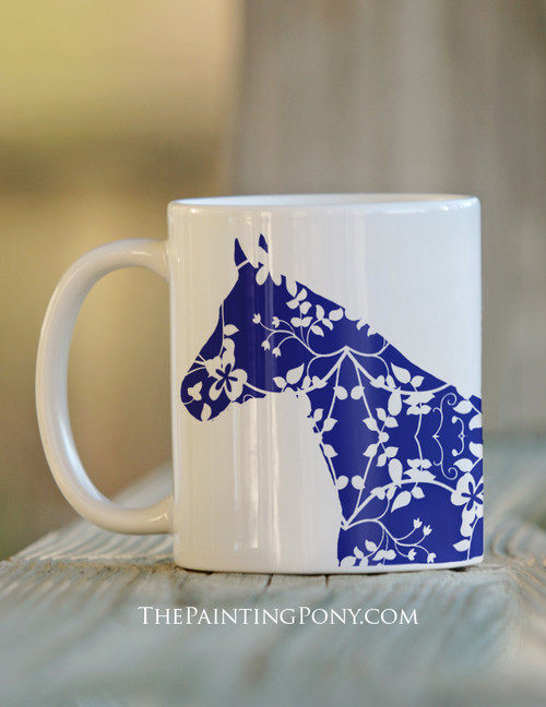 Country Floral Horse Lover Equestrian Coffee Mug