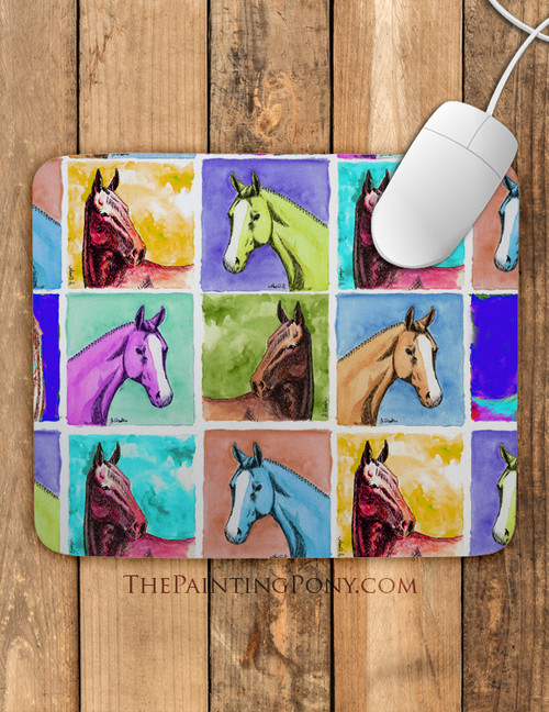 Colorful Horse Head Art Mouse Pad