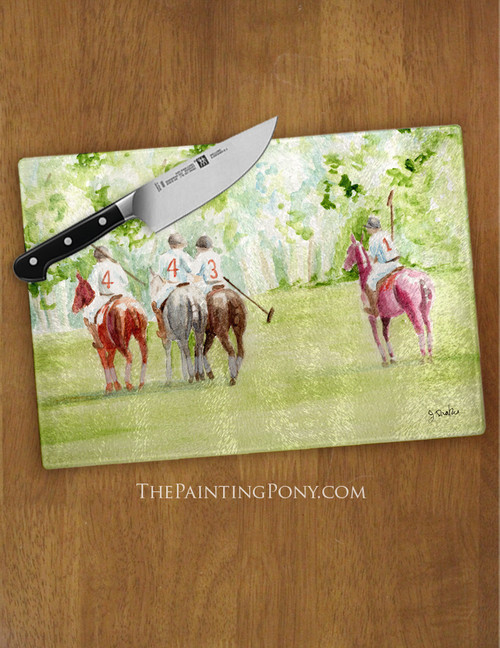 Polo Horses Watercolor Equestrian Glass Cutting Board