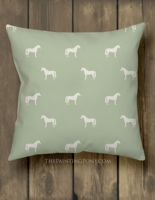 Horse Pattern Equestrian Throw Pillow