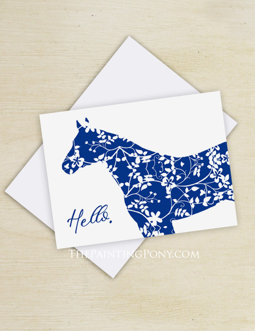 Blue Country Floral Horse Head Note Cards (10 pk)