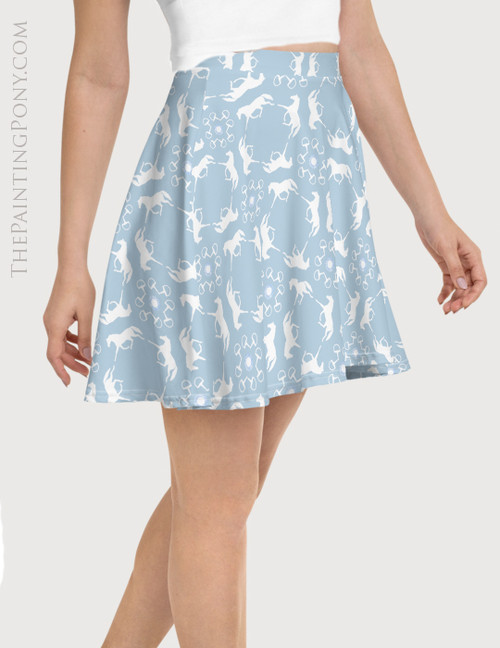 Trotting Horses Pattern Equestrian Flare Skirt