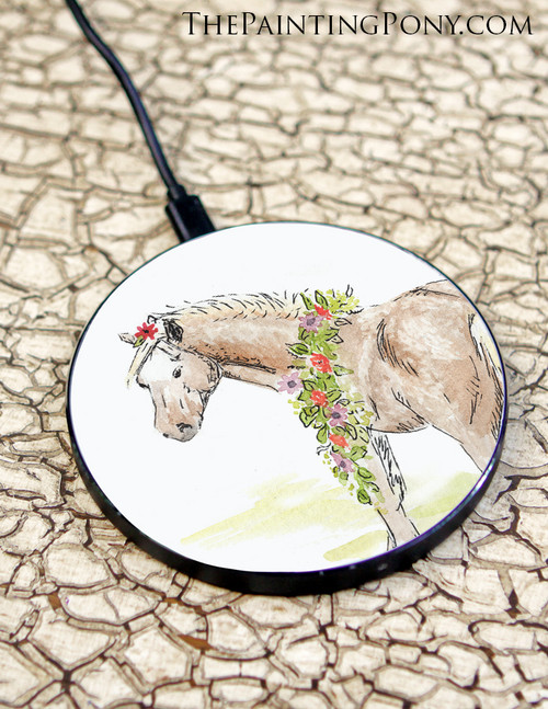 Whimsical Pony Art Equestrian Wireless Charger