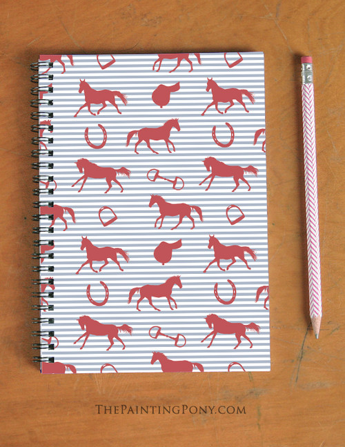 Red, White, and Blue Horse Pattern Equestrian Spiral Notebook