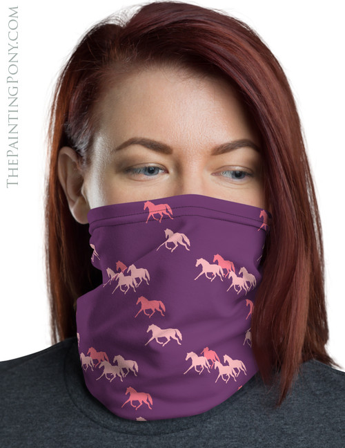 Trotting Horses Pattern Neck Gaiter (More Colors Available)